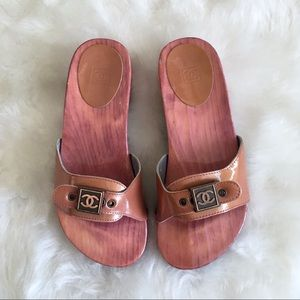 Chanel Pink Wooden Clog Slides Sandals